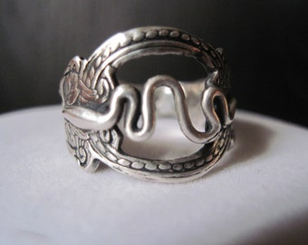 Sale! Egyptian Guardian Snake Ring Sterling Silver Size 9 1/2