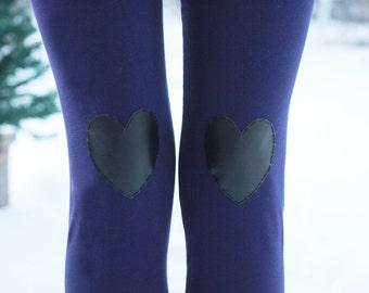 SALE - My Leather Heart Purple Leggings // size small