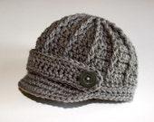 Baby Boy Newsboy Cap -  Brim Hat - Gray Grey - Newborn -  Knitted / Crochet -Photo Prop / Photography Prop - Baby / Infant