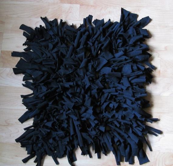 Handmade Black Upcycled Square Shag T-shirt Rag Rug By ArtTx