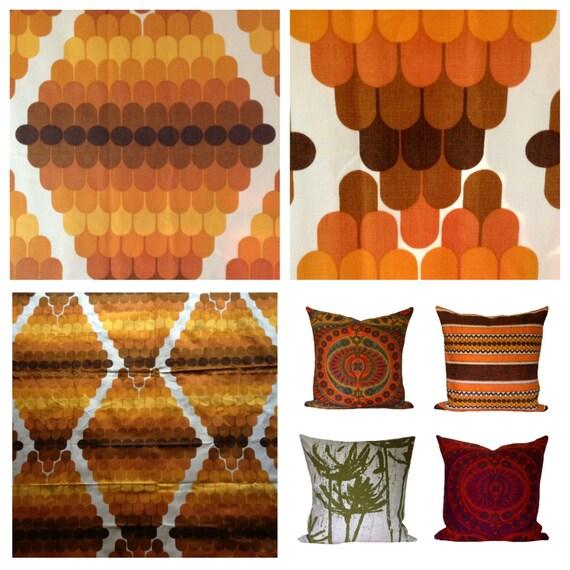 Retro Kitchen Curtains 1950s: Vintage Retro 1960s Graphic Curtains Orange Tones
