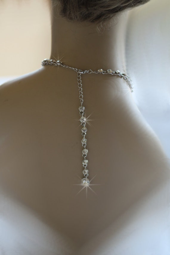 Bridal necklace back chain long back chain wedding for Back necklace for wedding dress