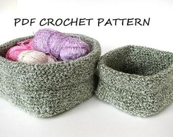 Crochet square basket - 2 sizes, crochet pattern, easy, Crochet Pattern PDF, Great for Beginners, Pattern No. 58