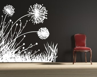 Dandelion Field 2 - uBer Decals Wall Decal Vinyl Decor Art Sticker Removable Mural Modern A154