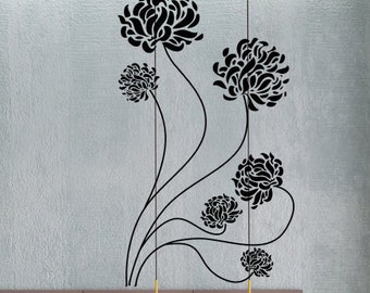 Chrysanthemum Flowers - uBer Decals Wall Decal Vinyl Decor Art Sticker Removable Mural Modern A332