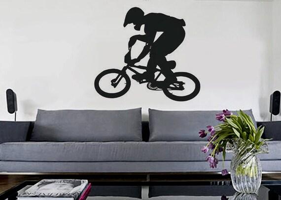 bmx uber decals wall decal vinyl decor art sticker removable bmx bike silhouette bike bmx amp cycling wall stickers sport