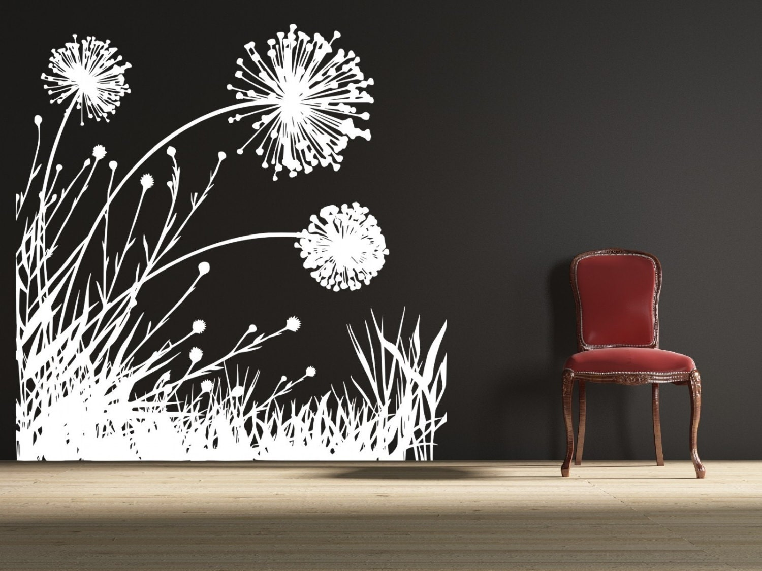 Dandelion wall decal floral wall decal dandelion a154 for Decor mural wall art