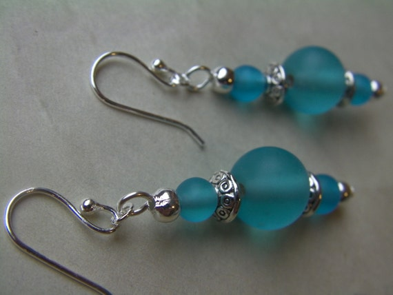 Frosted Glass Teal Dangles, Aqua, Turquoise Color, Bright Silver, Delicate, Resort, Artistic Sparkle, Handcrafted Earrings, OOAK, lacwe