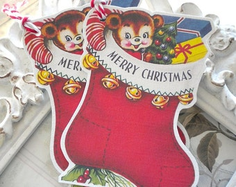 Merry Christmas Stocking Tags (6) Christmas Favor Tag-Holiday Tag-Christmas Tag-Treat Tag-Gift Tags-Christmas Die Cut-Christmas Gift Wrap