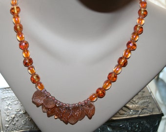 Necklace Glass Orange Carnival Beads Festive