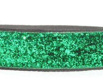 Glitter Headband - 7/8 Inch - Green Headband - Sparkle Headband - Non Slip Headband - Running Headband - Team Headband - Fitness Headband