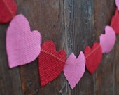 Pink and Red Heart Burlap Valentine's Garland  SHIPS IMMEDIATLY