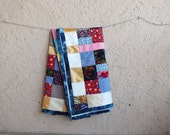 Patchwork Lap Quilt, Blanket for Kids, Denim Binding