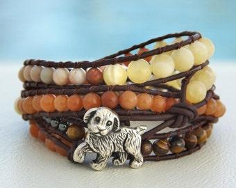 Chico... Leather wrap bracelet. 4 wraps bracelet. Original OceanBead style.
