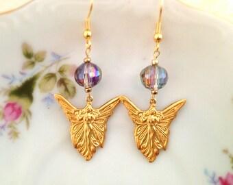 Gold Tone Fairy Earrings. Dangle Earrings. Angel. Butterfly. Art Nouveau. Magic. Mystical. Blue. Iridescent Glass Bead. Romantic. Under 20.