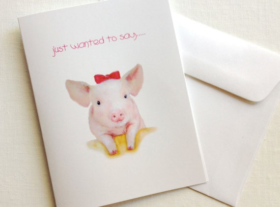 Mother's Day  Card, Pink Pig Greeting Card, Blank Card, All Occasion Cards, Thak You Cards