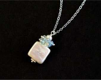 March Birthstone Necklace, White Square Freshwater Pearl, Aquamarine Faceted Rondelles, Sterling Silver Daisy Spacer and Chain. Gift. N133