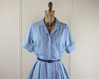 1950s Pastel Striped Day Dress-  vintage Cotton Shirt Waist Dress - blues and dusty plum - size large to extra large, l/xl