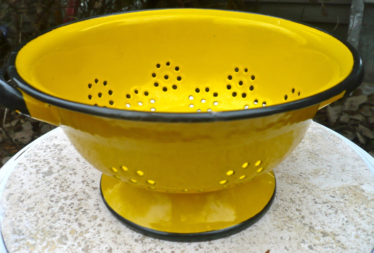 Vintage Enamel Colander Yellow Strainer Vintage Kitchen