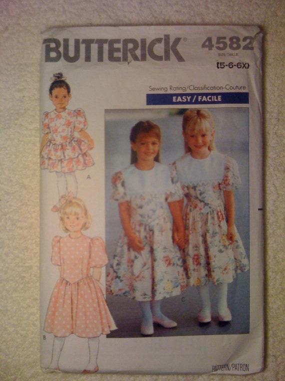 Butterick 90s Sewing Pattern 4582 Girls Dress Size 5-6x