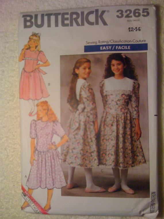 Butterick 80s Sewing Pattern 3265 Girls Dress Size 12-14 Sale