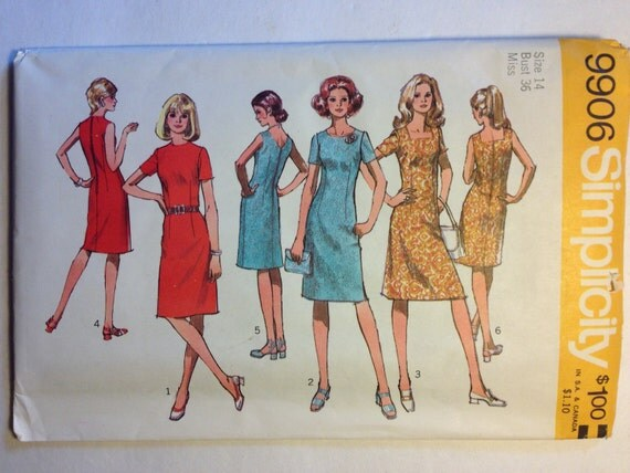 Simplicity 70s Sewing Pattern 9906 Misses and Womens Dress with Three Necklines Size 14 Sale
