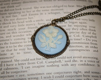 Jane Austen/ Georgian Regency Style Cameo Necklace: Classic Wedgwood Blue Color