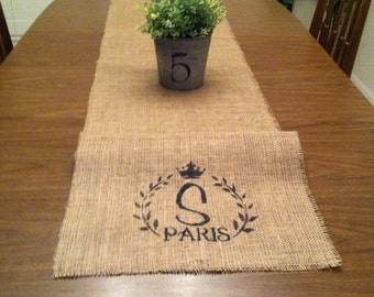 Burlap Paris initial Table Runner