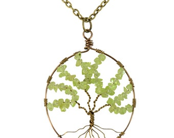 Celtic Tree of Life Pendant with Necklace - Peridot Gemstone and Antique Bronze Wire