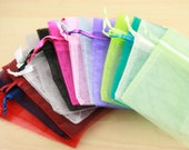 50 Organza Bags - assorted colors shown or pick your quantities in multiples of TEN  from the colors shown, 3X4 size, satin drawstring
