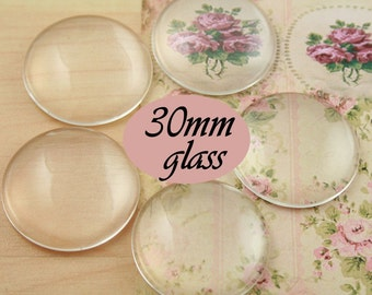 10 Clear Glass 30mm Circle Domes High Quality