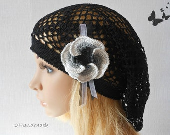 Lace Crochet Tam Dreads Hat Oversized Beret Slouchy Beanie Boho Women Girl Black Summer 2013 Cotton Vintage Style