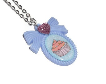 Cupcake Necklace, Kawaii Pastel Blue Sweet Pendant Cute Jewelry