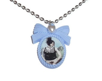 Brody Dalle Necklace, The Distillers Cameo Necklace, Light Blue, Punk