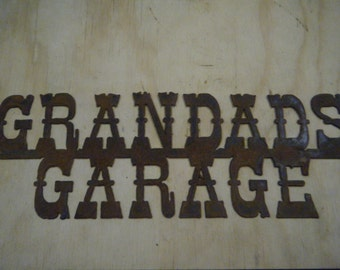 FREE SHIPPING Rusted Rustic Metal Grandads Garage Sign
