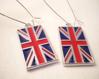Silver Union Jack  Earrings - Free USA Shipping, Handmade Union Jack Jewelry, Handmade Union Jack Earrings,
