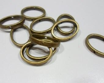 212  Anneau oval antique bronze 19mm x 14.5mm, 3mm épaisseur  trou 1mm (10)