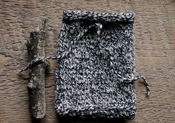 Black White Knit Cell Cozy- Hand Knitted Tweed Drawstring Pouch- Drawstring