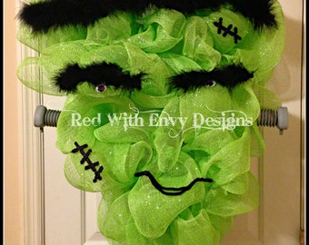 Frankenstein Wreath, Frankenstein, Large Halloween Wreath, Halloween Wreath, Deco Mesh Wreath, Wreath,Pumpkin, Pumpkin Wreath