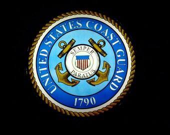 US Coast Guard  HAND-PAlNTED STAlNED GLASS Medallion