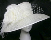 Ivory Kentucky Derby Hat, Bridal Hat, Church Hat