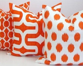 Orange Pillows SET of 3.Pillows.18x18 inch.Throw Pillow Covers.Decorative Pillows..Housewares.Home Decor.Large Print.Cushions.cm.Geometric.