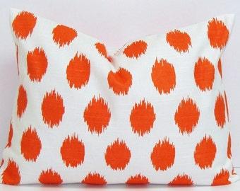 PILLOW.ORANGE PILLOW.12x24, 12x20, 12x18 or 12x16 inch.Pillow Cover.Decorative Pillows.Housewares.Home Decor.Ikat.Cushions.cm.Dots.Cushion