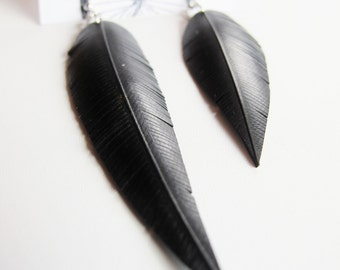 Mismatched Innertube Feather Earrings - Recycled Jewelry - asymmetrical - black - bike - bicycle - handmade