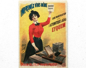 "Retro Wood Wall Art 8x12"" 20x30 cm, French Table, Paris, Retro Advertising, Wall Hanger, Art Deco, Art Noveau Room Decor, Coffee decor"