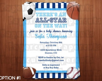 All Star Sports Theme Baby Shower Party Invitation | Blue | Personalized | Printable DIY Digital File