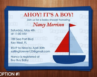 Sailboat Nautical Theme Baby Shower Party Invitation   Blue & Red   Personalized   Printable DIY Digital File