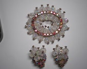 RESERVE for. Candida.  Demi Parure  Knobby Crystal Beads Red AB Chatons Brooch and Earrings   Item No: 16431