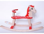 Wooden handmade Rocking horse Red Dots - thewoodenhorse