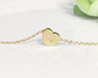 Bridesmaid gifts - Set of 4, 5, 6, 7, 8 - Heart initial necklace in gold, Personalized necklace, gold plating